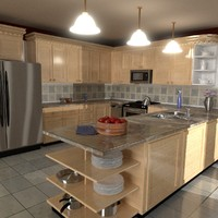 kitchen refrigerator stove 3d 3ds