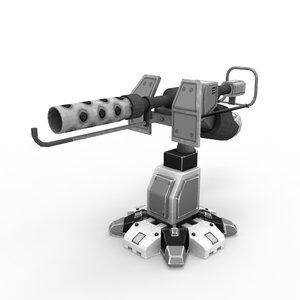 sci-fi flamethrower 3d fbx