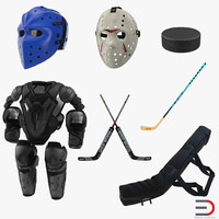 3d hockey equipment 2 modeled model