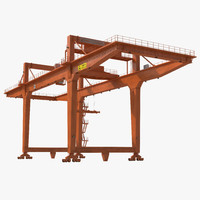 3d model rail mounted gantry container crane