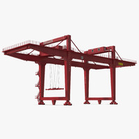 rail mounted gantry container crane 3d model