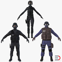 swat policemans 3 3d model