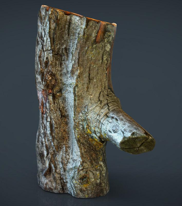 realistic wood log fbx
