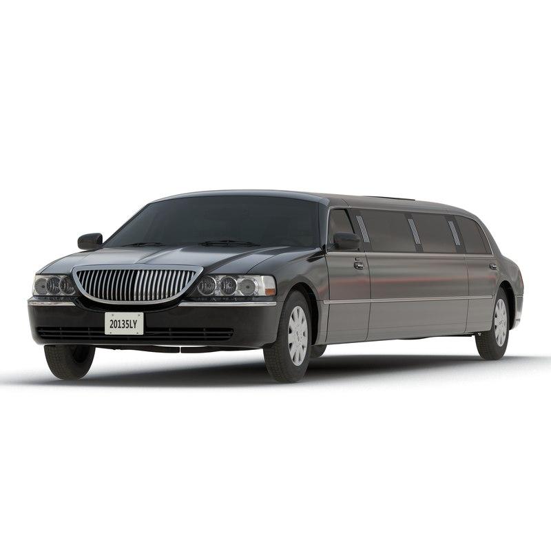 generic limousine black simple 3d model