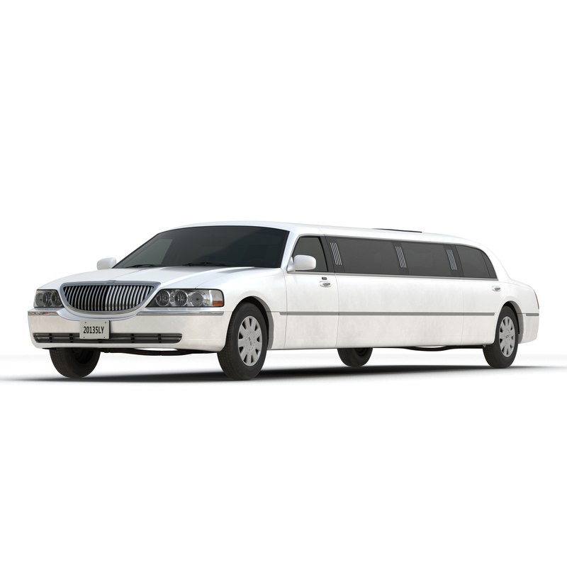 3d model generic limousine white simple