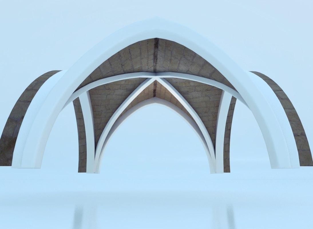 3d ancient cross vault model