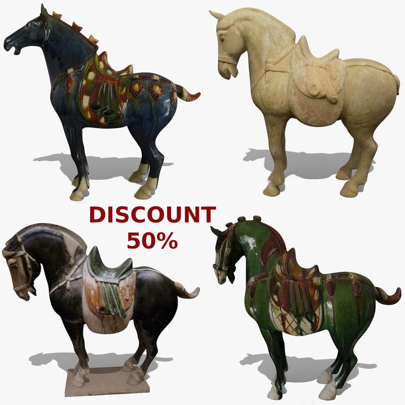 horse statuettes 7 3d model