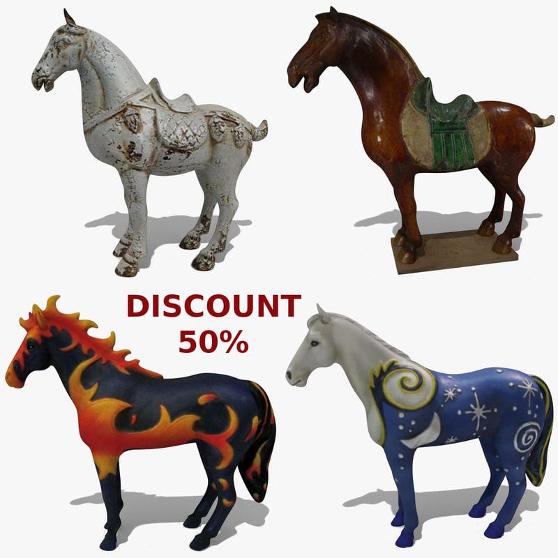 3d horse statuettes 8 model