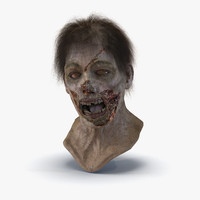 Zombie Head 3D Model with Hair Rigged
