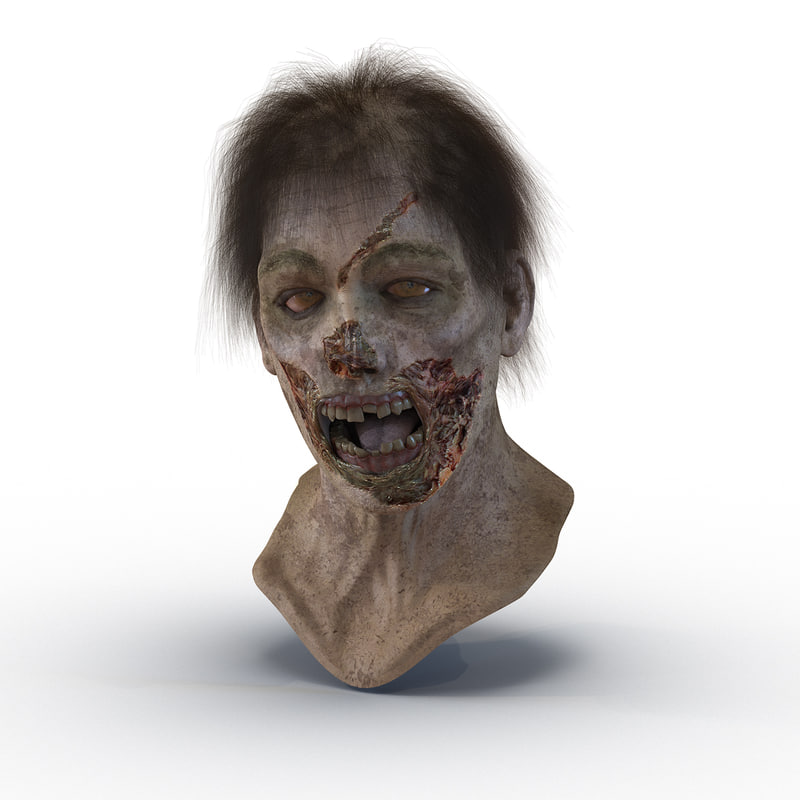3d zombie head hair rigged model