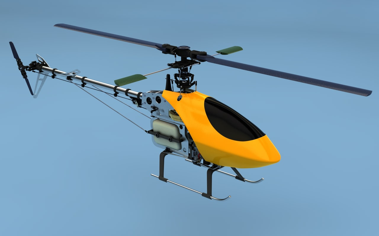 helicopter internal combustion 3d c4d
