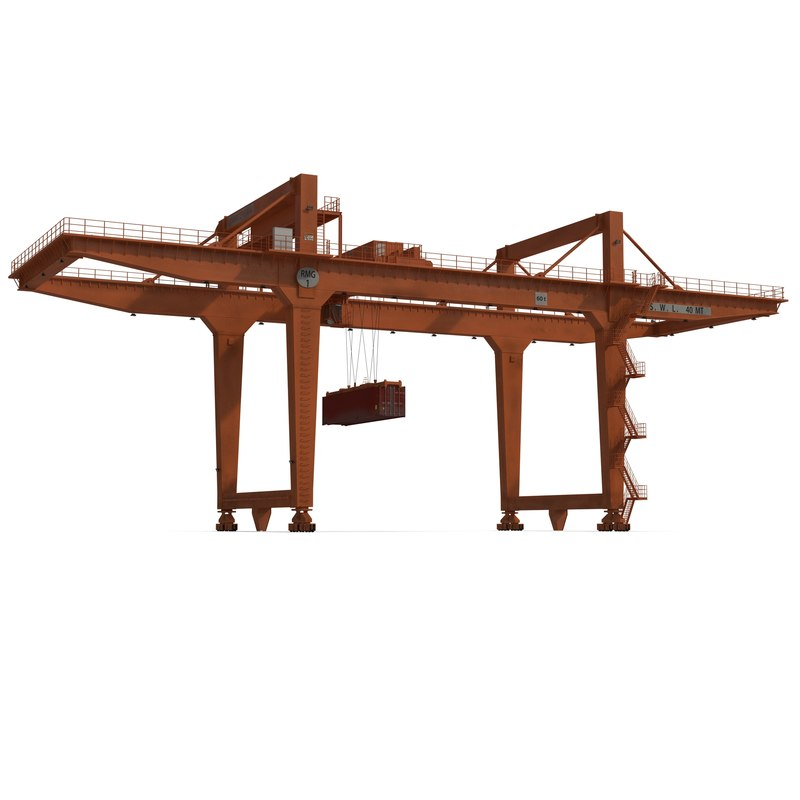 rail mounted gantry container crane c4d