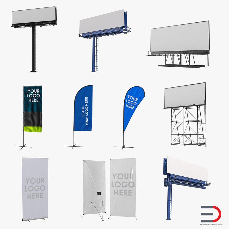 3d model of billboards banner stands