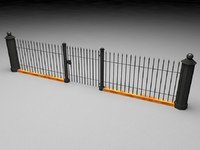 Elegant Historical Fence Low Poly Game Model