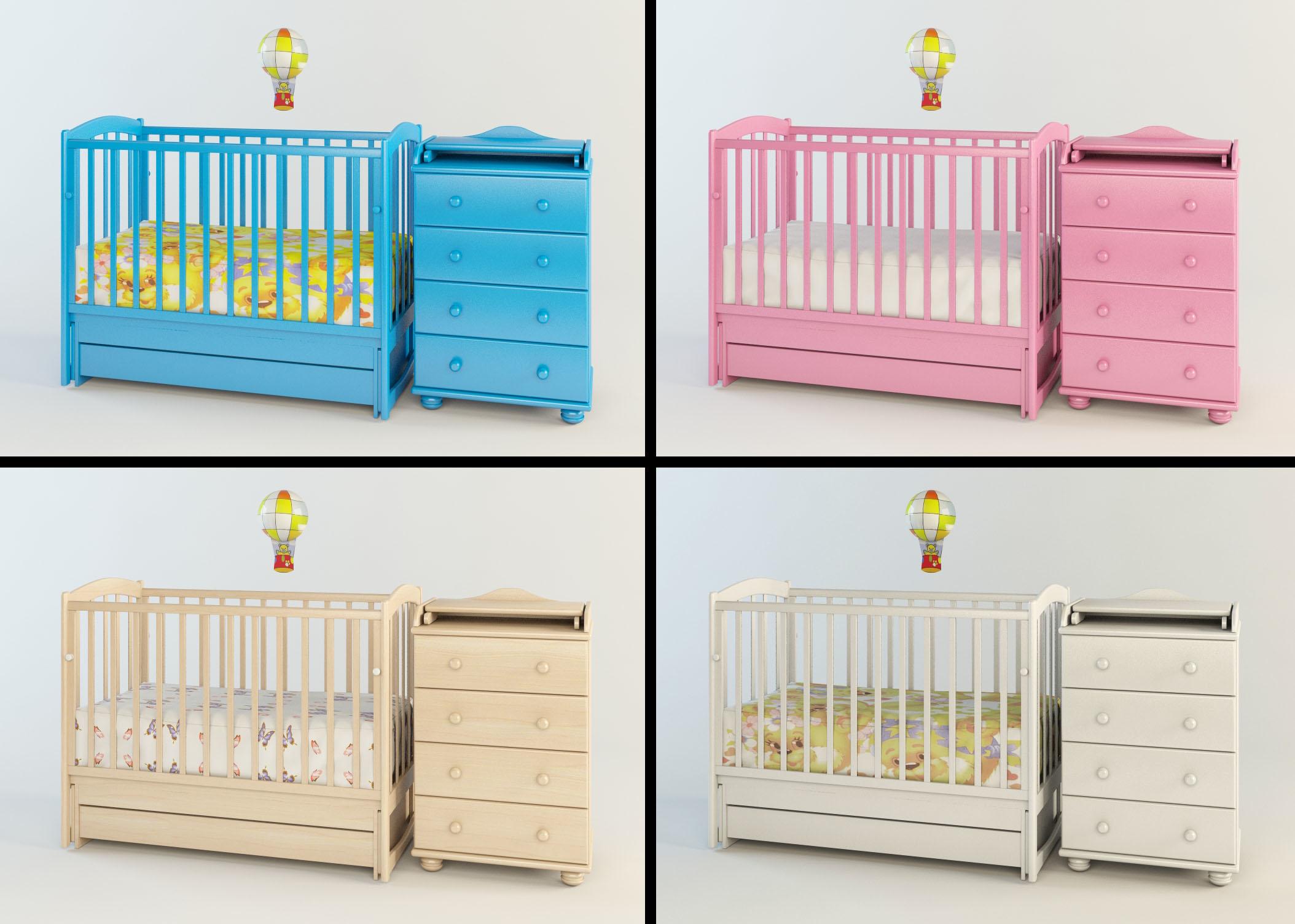 Ensemble de mobilier de chambre bébé: lit avec commode et babylamp