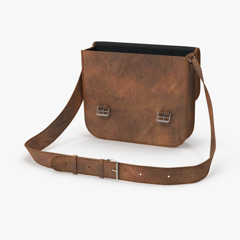 3d open leather satchel model