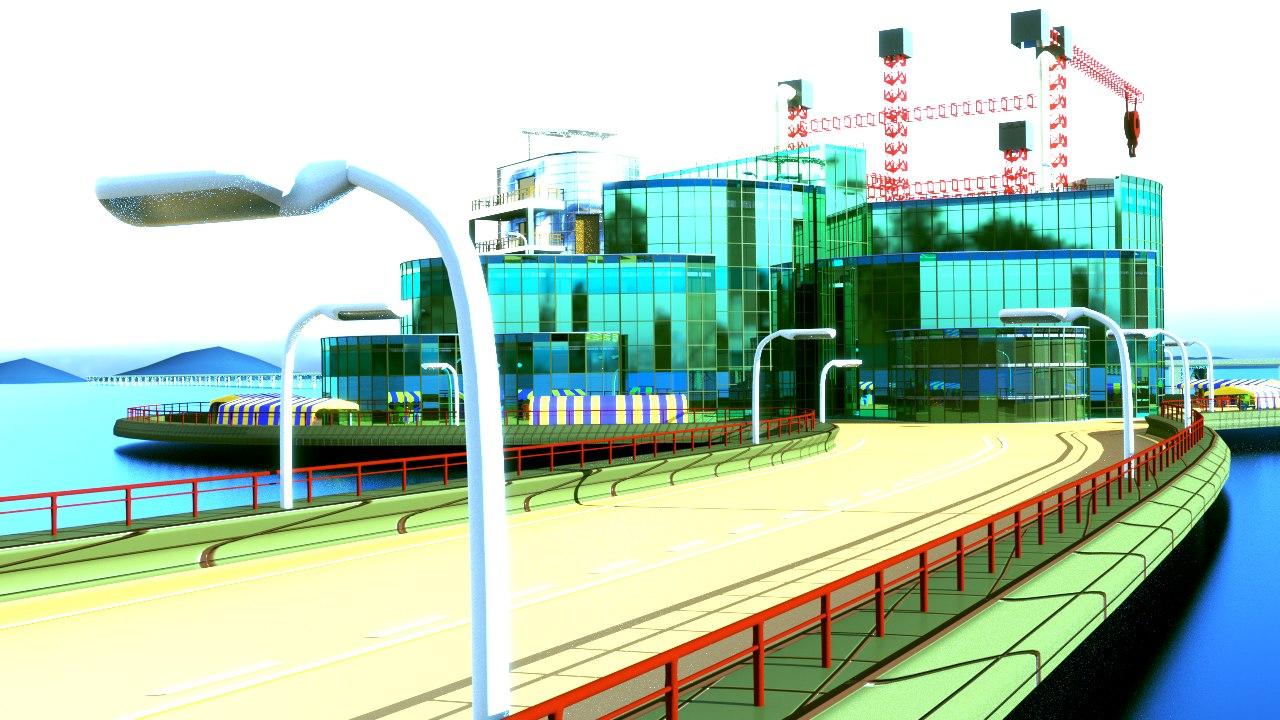 building industrial sci-fi 3d model