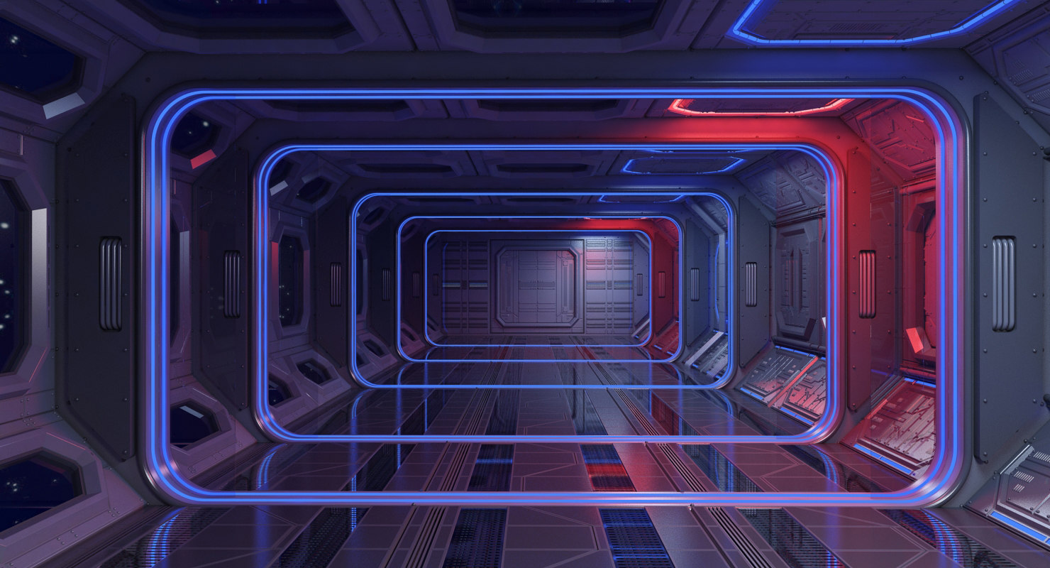sci-fi interior scene 3d max