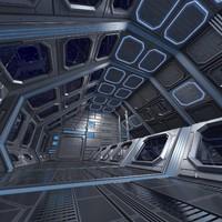 3d sci-fi interior scene model