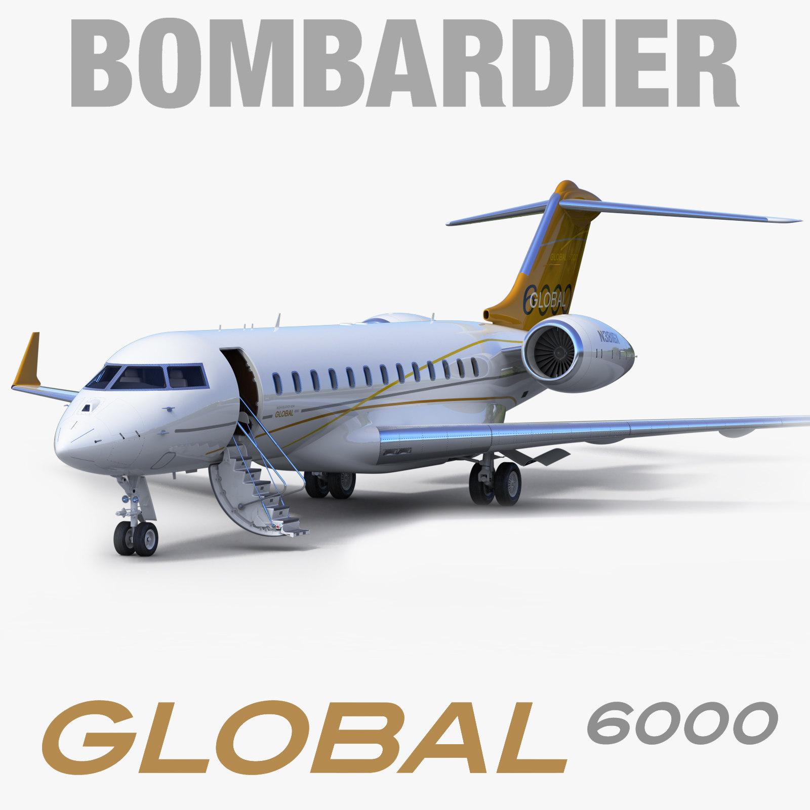 3d model business jet bombardier global