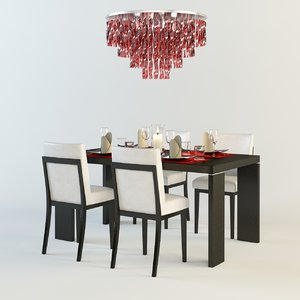 dining room set table chairs 3d 3ds