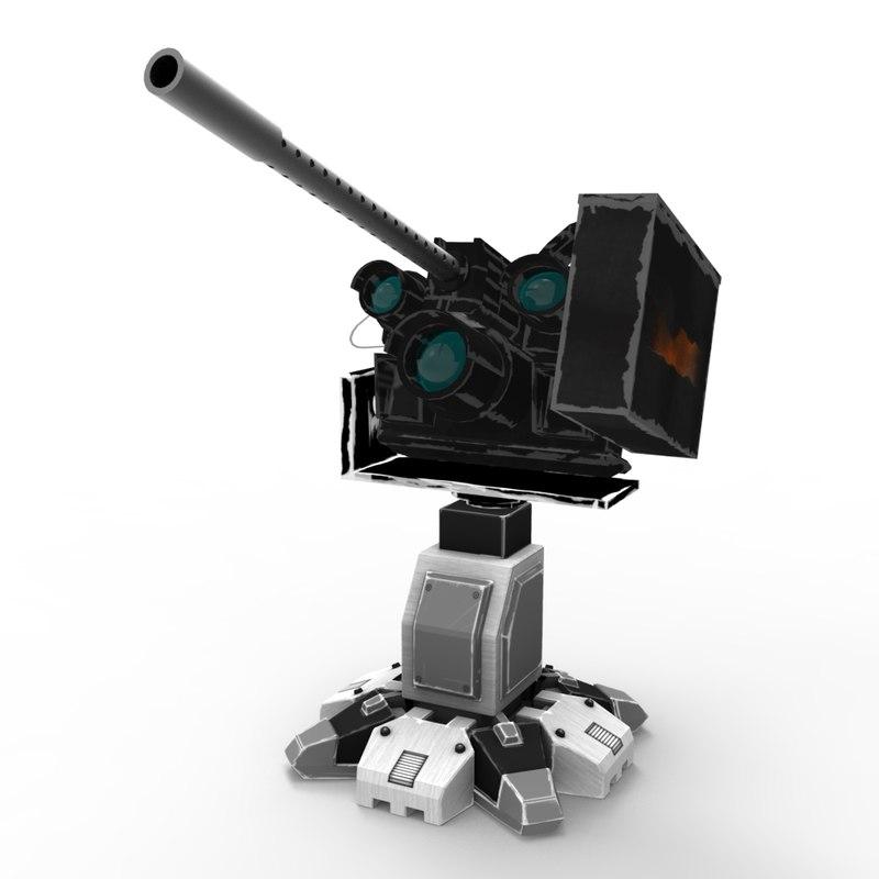 3d model sci-fi guardian turret