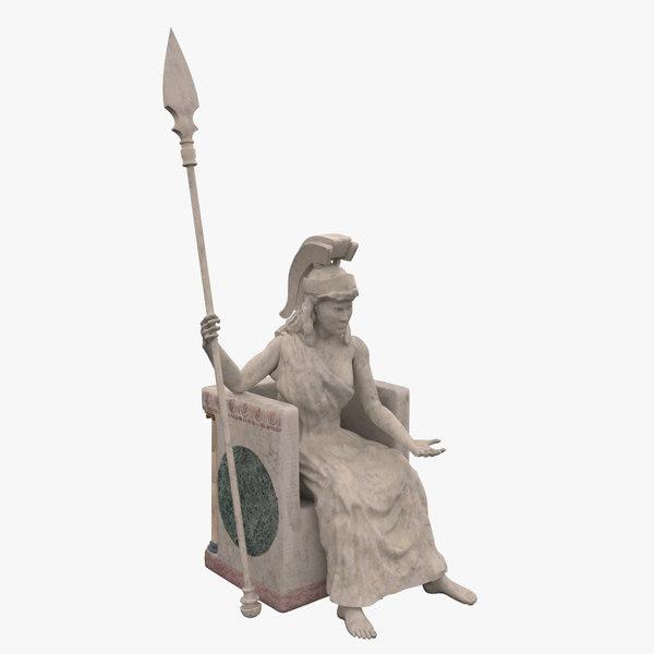 3d statue athena goddess model