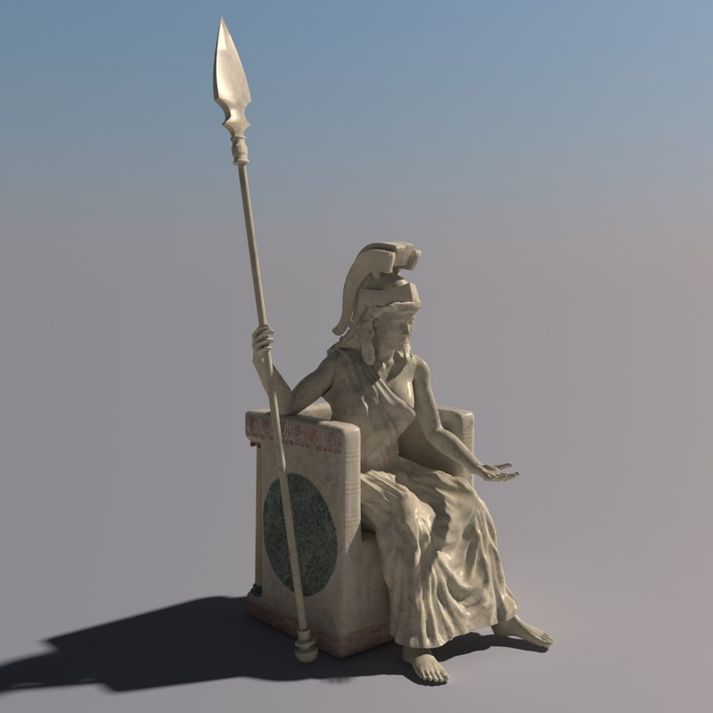 3d statue athena goddess model