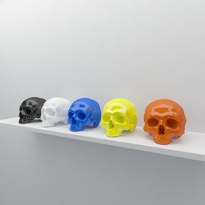 3d model human skull decor