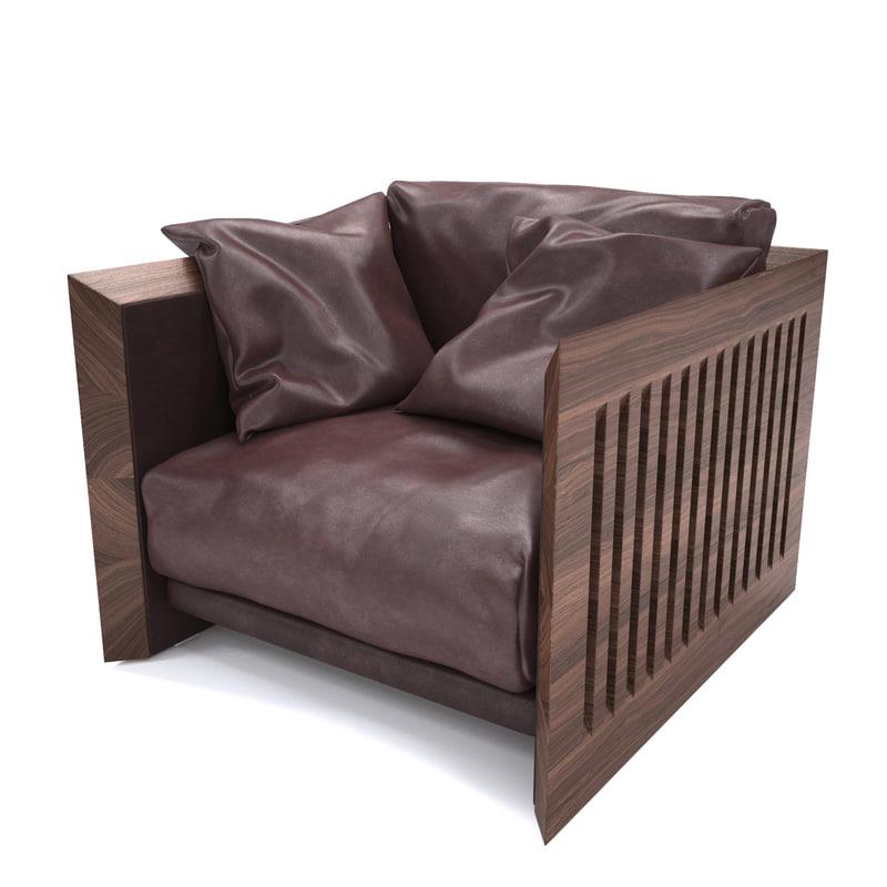 3d soft wood armchair riva