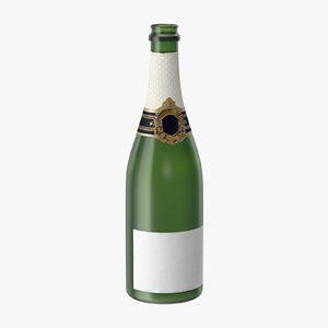 3d open champagne bottle 01