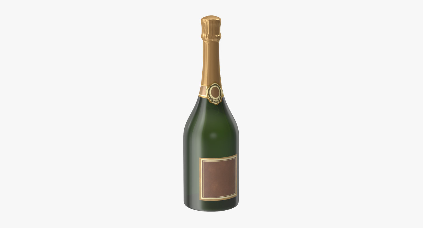 3d champagne bottle 02