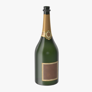 open champagne bottle 02 3d max