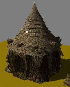 3d indigenous - native hut