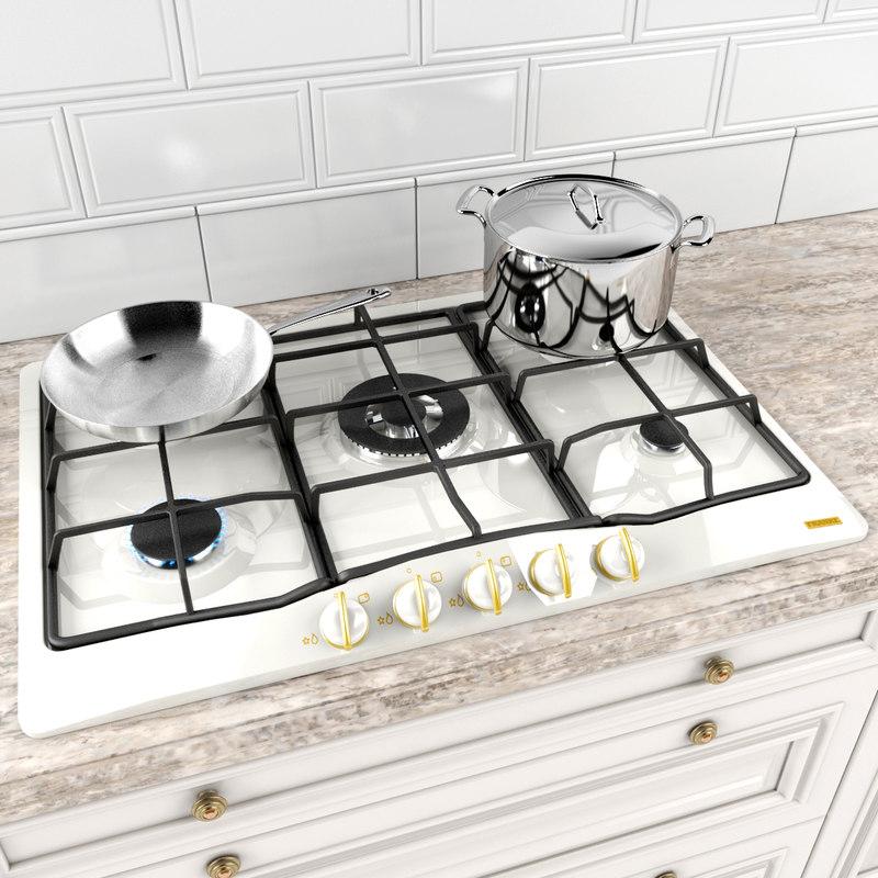 cooktop pans 3d model