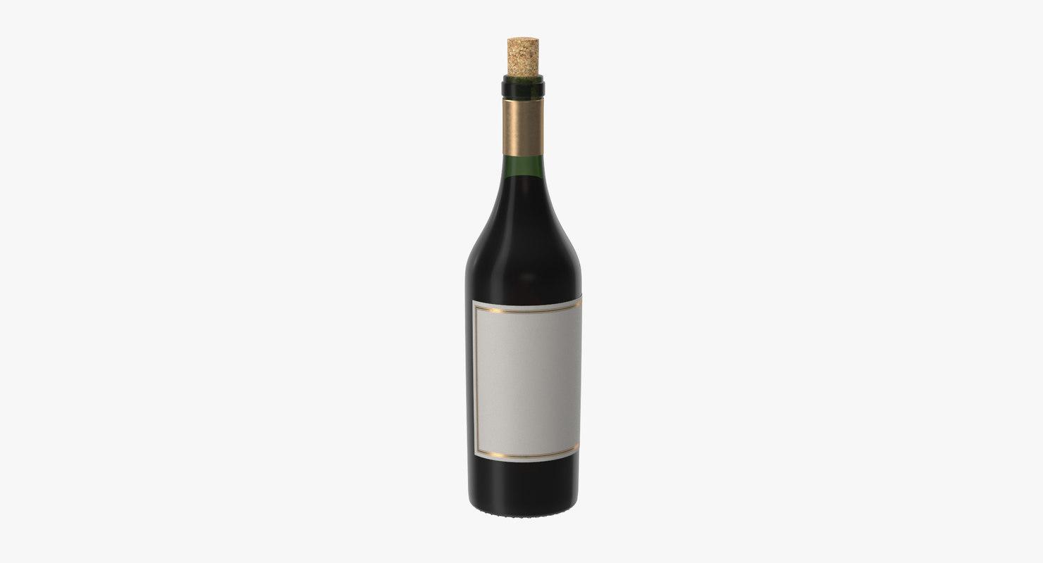 3d open bordeaux bottle