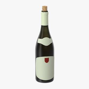 3d model open chardonnay bottle