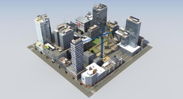 3ds hdrt city block buildings