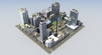 3ds hdrt city block buildings