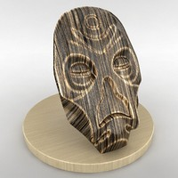 Wooden alien mask