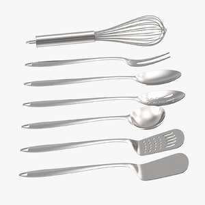 metal cooking utensil set obj