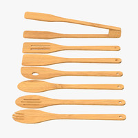 3d model wooden cooking utensil set