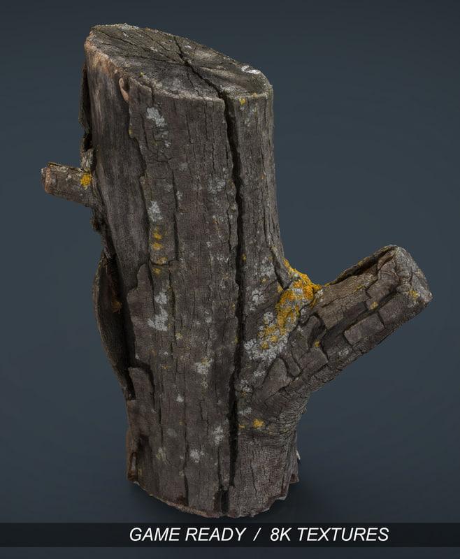 realistic wood log 3d 3ds