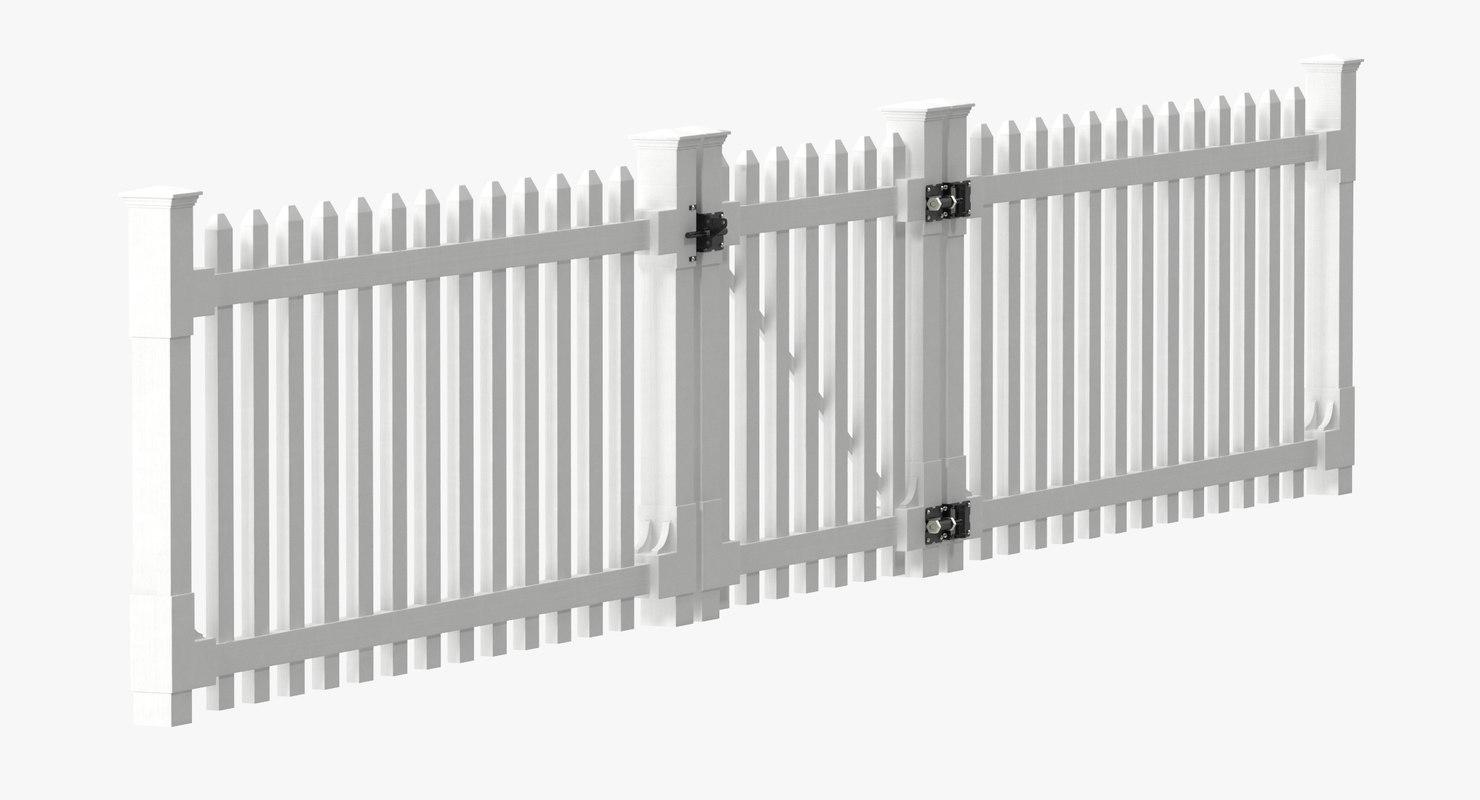 white picket fence gate 3d model