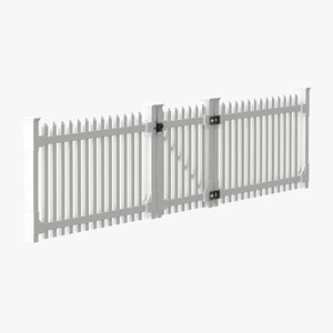 white picket fence gate 3d model