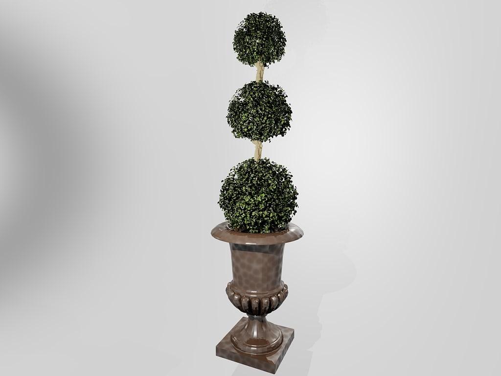 3d model deco 3 tier plant