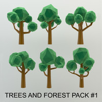 Low Poly Cartoon Trees and forest pack