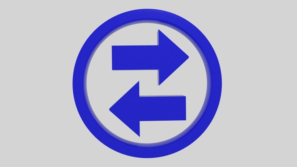3d model twin arrow symbol