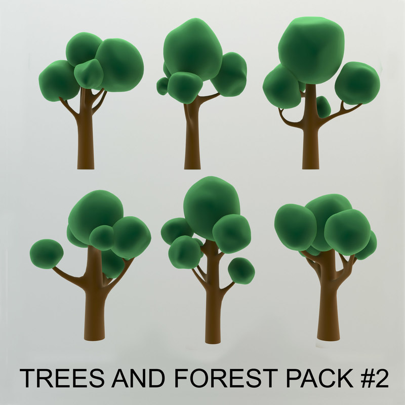 cartoon trees forest pack 3d max