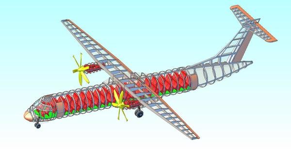 3ds atr-600 transport aircraft solid